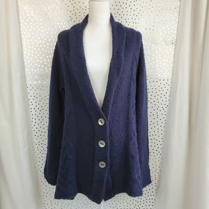 Free People Far Away Cable Cardigan in Navy